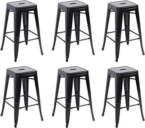lowest BELLEZE 26-inch Metal online Counter Vintage Bar Stools Modern lowest Dining Chair Retro Kitchen (Set of 6), Black sale