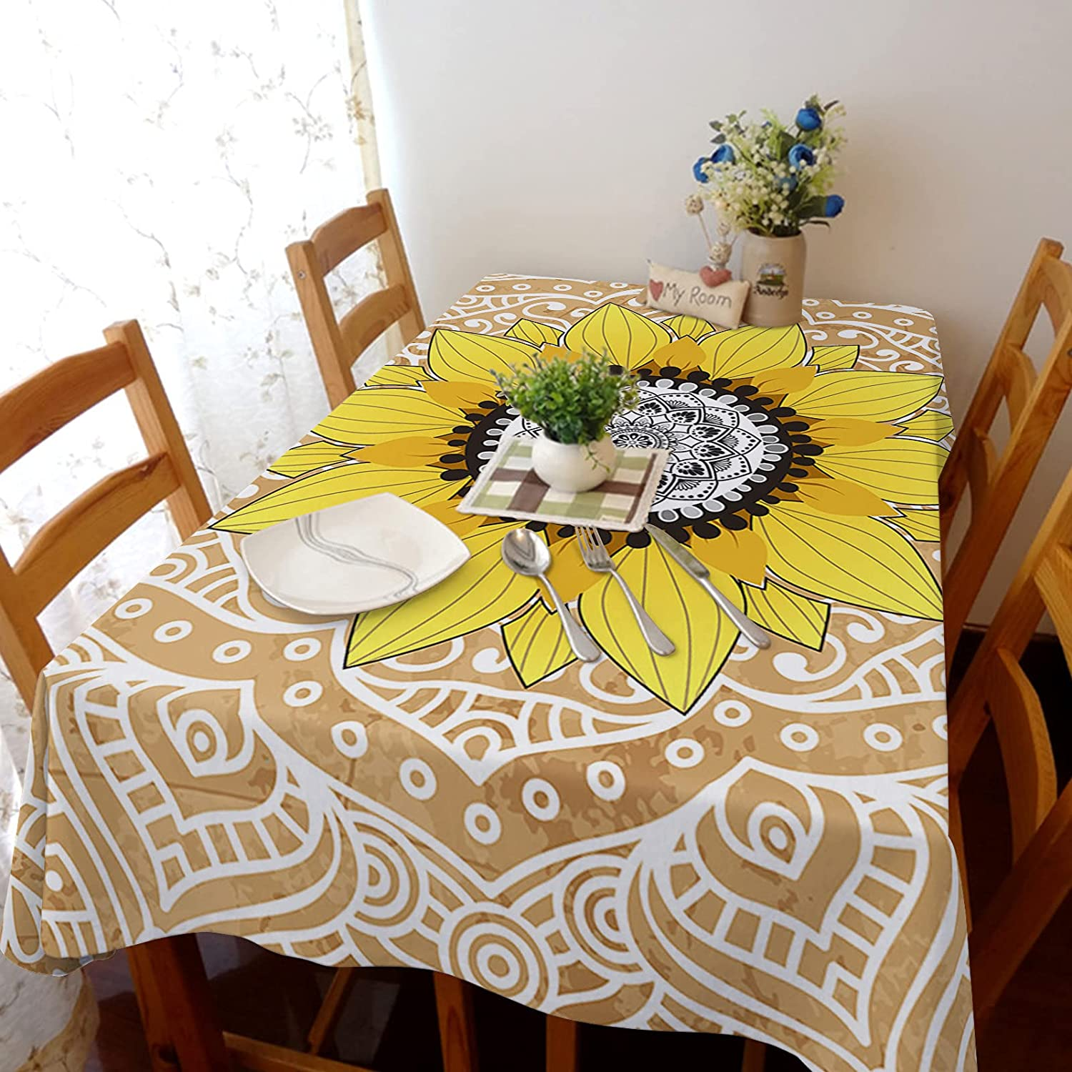 TH XHome Tablecloth Linen Burlap Limited price sale Sunflow Weights Soldering Fabric Mandala