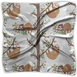 Square Scarf Floral Print Sloth Flower Tree Neckerchief Unisex Neckerchief Tie For Woman