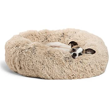 """Best Friends by Sheri Bundle Savings - The Original Calming Shag Donut Cuddler Dog Bed in Small 23"""""""" x 23"""""""" and Pet Throw Blanket in 30"""""""" x 40"""""""", Taupe"""