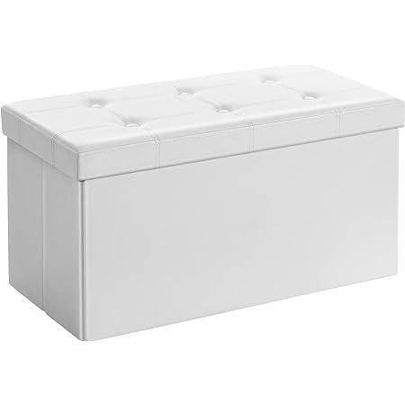 SONGMICS Coffre de Rangement Pouf de Rangement Gain de Place Pliable Blanc 76 x 38 x 38 cm LSF106
