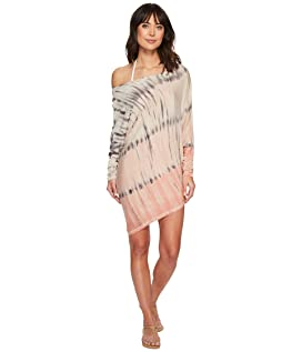 Watercolor Sateen Playa Boat Neck Asymmetrical Tunic