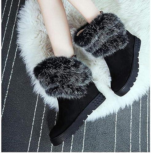 ZHRUI Stiefel para damen Stiefel de Nieve de Gasa Stiefel Antideslizantes con Cordones Stiefel de algodón Altas Interiores 34-43 (Farbe   schwarz, tamaño   39)