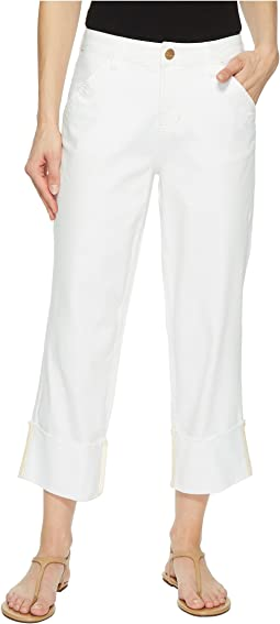 Jag Jeans Eden Wide Cuff Denim Crop in White