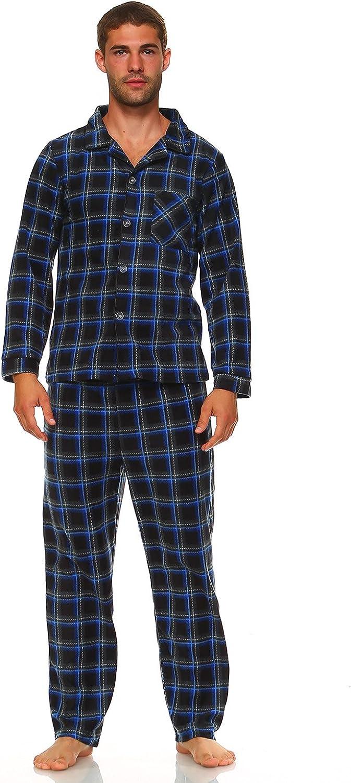 MarCielo Men's Fleece Pajamas, Classic Premium Plaid Flannel Fleece Pajama Set Sleepwear