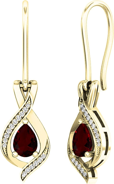 Dazzlingrock Collection 14K 7X5 MM Each Pear Gemstone & Round White Diamond Ladies Teardrop Drop Earrings, Yellow Gold