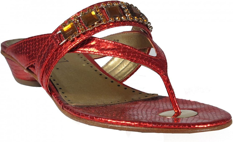 Desideri 9190 Women Italian Leather Dressy Flat Sandals