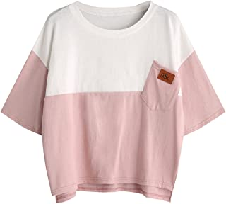 Women's Colorblock Summer Short Sleeve Casual Loose T-Shirt Crop Top