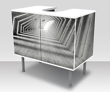 wandmotiv24 Mobile Bagno corridoio in Cemento Curvo Illuminato Incollato Frontale e Laterale Lavabo, Mobile lavabo M0794