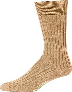 Boardroom Socks Merino Wool Mid-Calf Dress Socks for Men, Ribbed Dress Socks, Khaki
