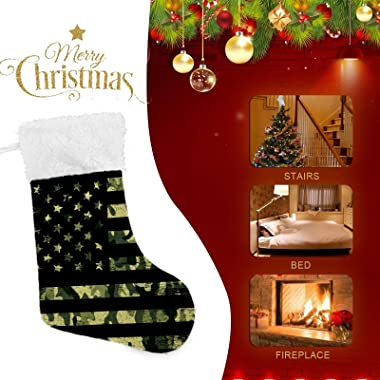 TaTaisu Christmas Stocking American Flag Camouflage Set of 2 Large Plush Cuff Gifts Pouch Card Candy Bags for Xmas Holiday De