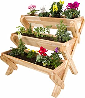CedarCraft Cascading Garden Planter - 3 Tier Vertical Garden - Grow Fresh Vegetables, Herb Gardens, Flowers & Succulents. Beautiful Raised Garden Bed for a Deck, Patio or Yard. No Tools Required.