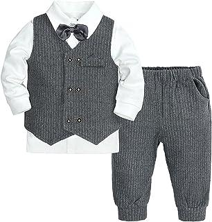 Kaerm Baby Boys 3Pcs Formal Party Suit Toddler Gentleman Outfit Bow Tie Shirt + Tuxedo Vest + Trousers Set