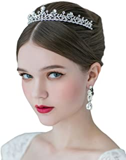 SWEETV Crystal Wedding Tiara for Bride - Princess Tiara Headband Pageant Crown, Bridal Hair Jewelry for Women and Girls, Silver