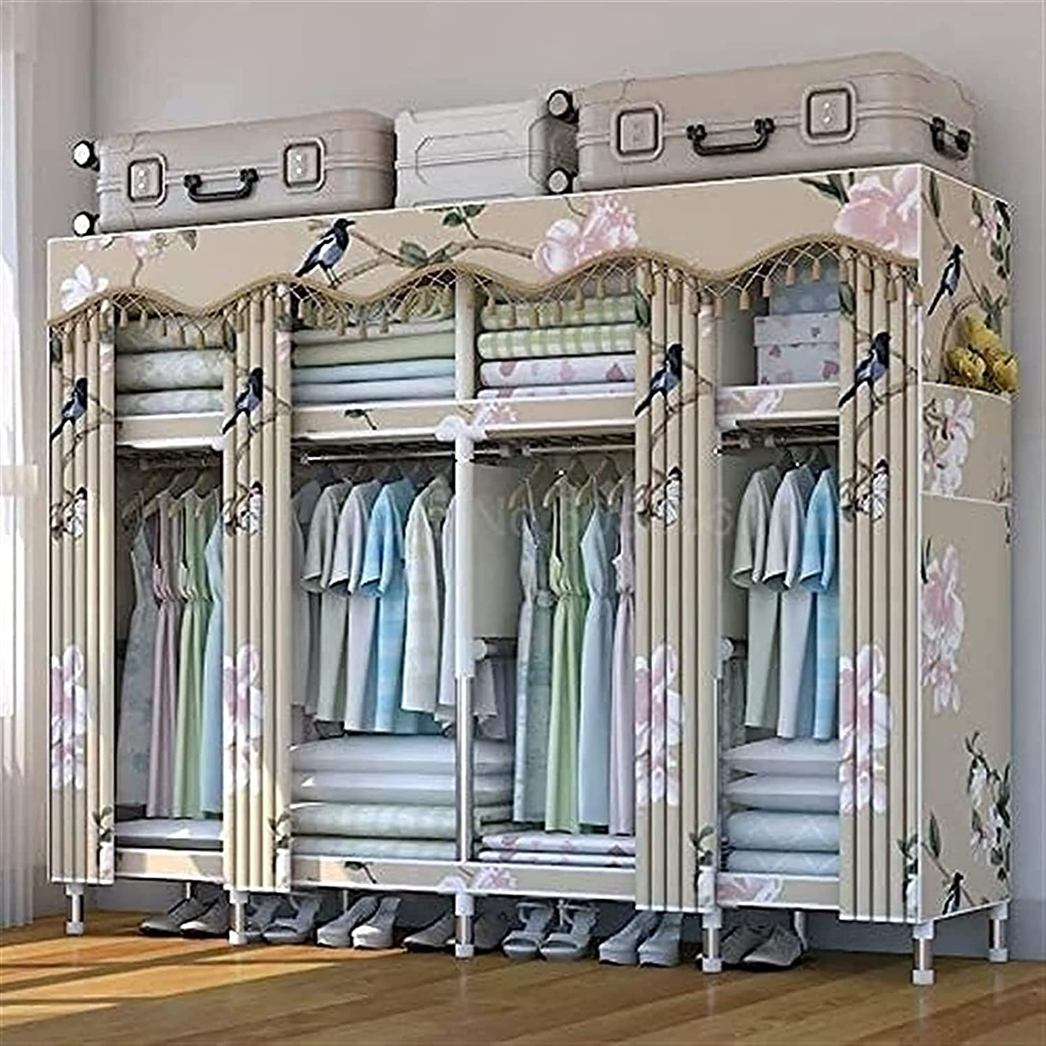 Home Max 82% OFF Double Wardrobe Storage Rack Household Rare Stainless Stee Steel