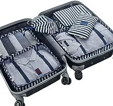 Belsmi 6 Set Packing Cubes - Waterproof Compression Bag Travel Luggage Organizer (Series B - Blue Stripes)