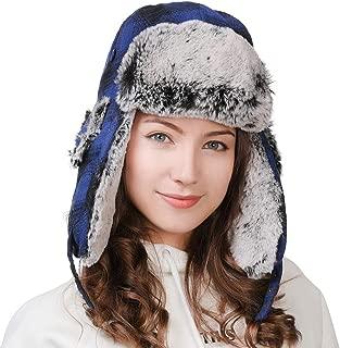 Jeff & Aimy Winter Trapper Hat Faux Fur Hunting Hat Ear Flap Windproof Ushanka Russian Hat