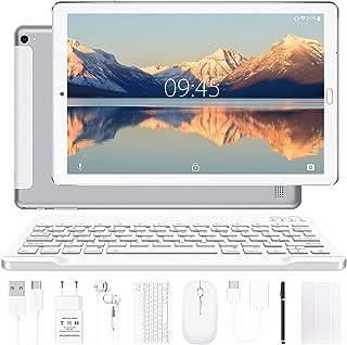 Tablette 10 Pouces YESTEL Android 10.0 Tablettes avec 4 Go de RAM + 64 Go de ROM - WiFi | Bluetooth | GPS, 8000 mAH, avec Souris | Clavier et Couverture - Argent