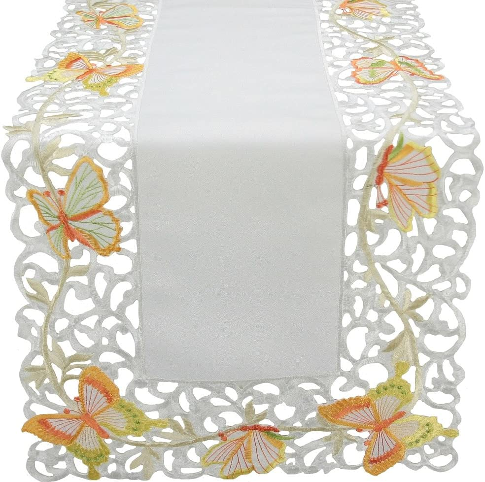 Xia Home Fashions Splendid Mariposa Embroidered Cutwork Spring Table Runner, 15 by 72-Inch