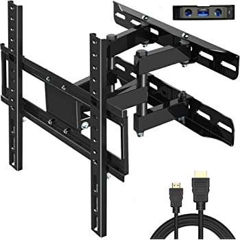 """Everstone TV Wall Mount Fit for Most 26""""-60"""" TVs Heavy Duty Dual Arm Articulating Full Motion Tilt Swivel 14"""" Extension Bracket,LED,LCD,OLED&Plasma Flat Screen TV,Curved TV,Up to VESA 400mm,HDMI Cable"""