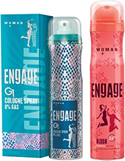 Engage G1 Cologne Spray For Women, 135ml And Engage Blush Bodylicious Deo Spray For Women, 150ml/100g Weight may vary