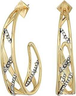 Alexis Bittar - Crystal Encrusted Plaid Hoop Earrings