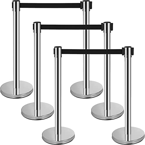 high quality Mophorn popular 6 Pcs Stainless Steel Stanchions Posts, 6.5' Black outlet sale Retractable Belt Rope, Barriers 36In Crowd Control Barriers for Party Supplies, Silver Queue Pole outlet sale