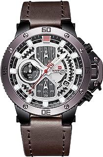 NAVIFORCE Men's Waterproof Sports Leather Watch Multi-Function Display Backlight Digital Quartz Wrist Watches (Yellow)