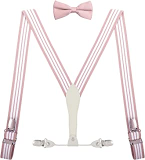 SUNNYTREE Boys' Mens' Adjustable Suspenders Y Back with Bow Tie Set