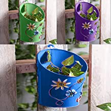 Gadgets Appliances Half Moon Shaped Wall Planter Powder Coated, Rust and Leak Proof - Vertical Planter Multicolour (Set of 3)