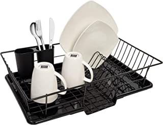 Sweet Home Collection 3 Piece Rack Set Dish Drainer Drain Board and Utensil Holder Simple Easy to Use, 12