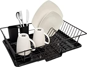 "Sweet Home Collection Dish Drainer Drain Board and Utensil Holder Simple Easy to Use, 12"" x 19"" x 5"", Black"