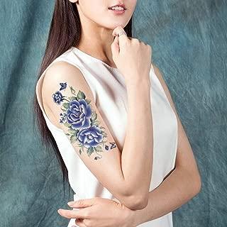 TAFLY Butterfly Large Peony Flower Body Art Waterproof Temporary Tattoo Transfer Sticker 5 Sheets (blue)