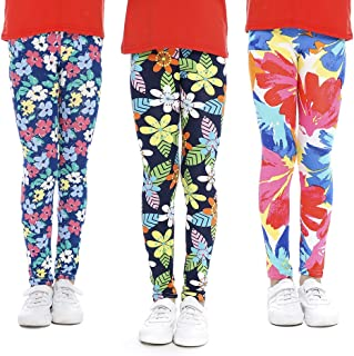 Girls Leggings Stretchy Kids Pants Classic Printing Flower Pattern