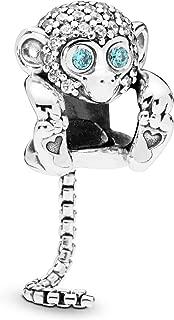 Sparkling Monkey 925 Sterling Silver Charm - 798054CZ