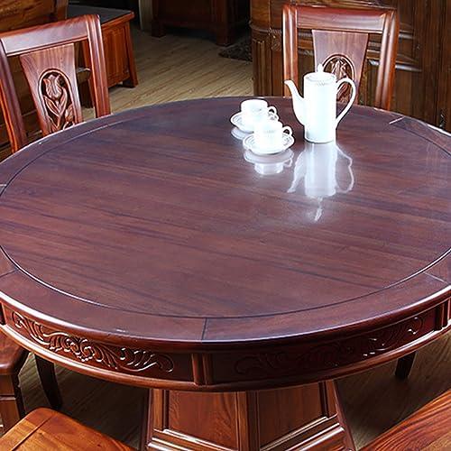 LITINGMEI Tablecloths PVC-runde Tischdecken-Küche-Wasserdichte Tischdecken-tranSpaßente Weiße Glaskristallplatten-Plastik Tischdecken (Farbe   B, Größe   80  80cm)