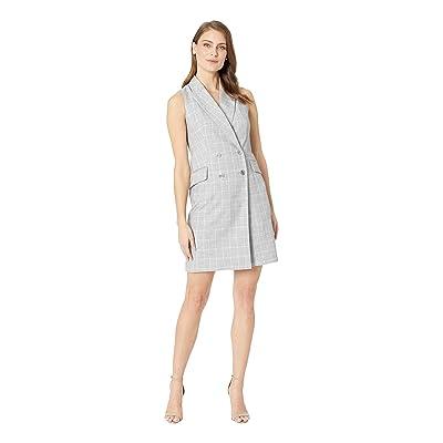 Calvin Klein Check Print Sleeveless Coat Dress CD8EV5PL (Tin/Cream) Women