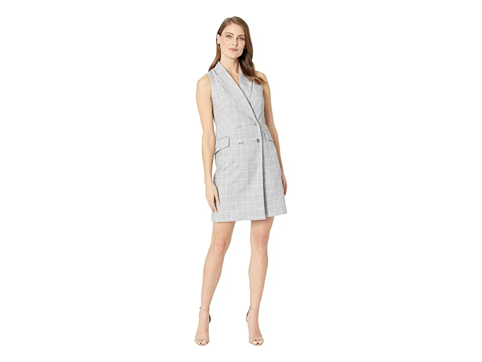 Calvin Klein Check Print Sleeveless Coat Dress CD8EV5PL (Tin/Cream) Women