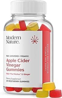 Modern Nature Apple Cider Vinegar Gummies Dietary Supplement, with The Mother & Ginger, 60 Vegetarian Gummies