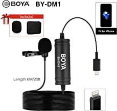 BOYA DM1 Lavalier Microphone Lapel Clip-on Mic with Lightning Connector Compatible with iOS iPhone X 8 7 6 Plus iPad iPod Nano Touch Using for YouTube, Interview, Podcast, Speech, Conference, Vlog