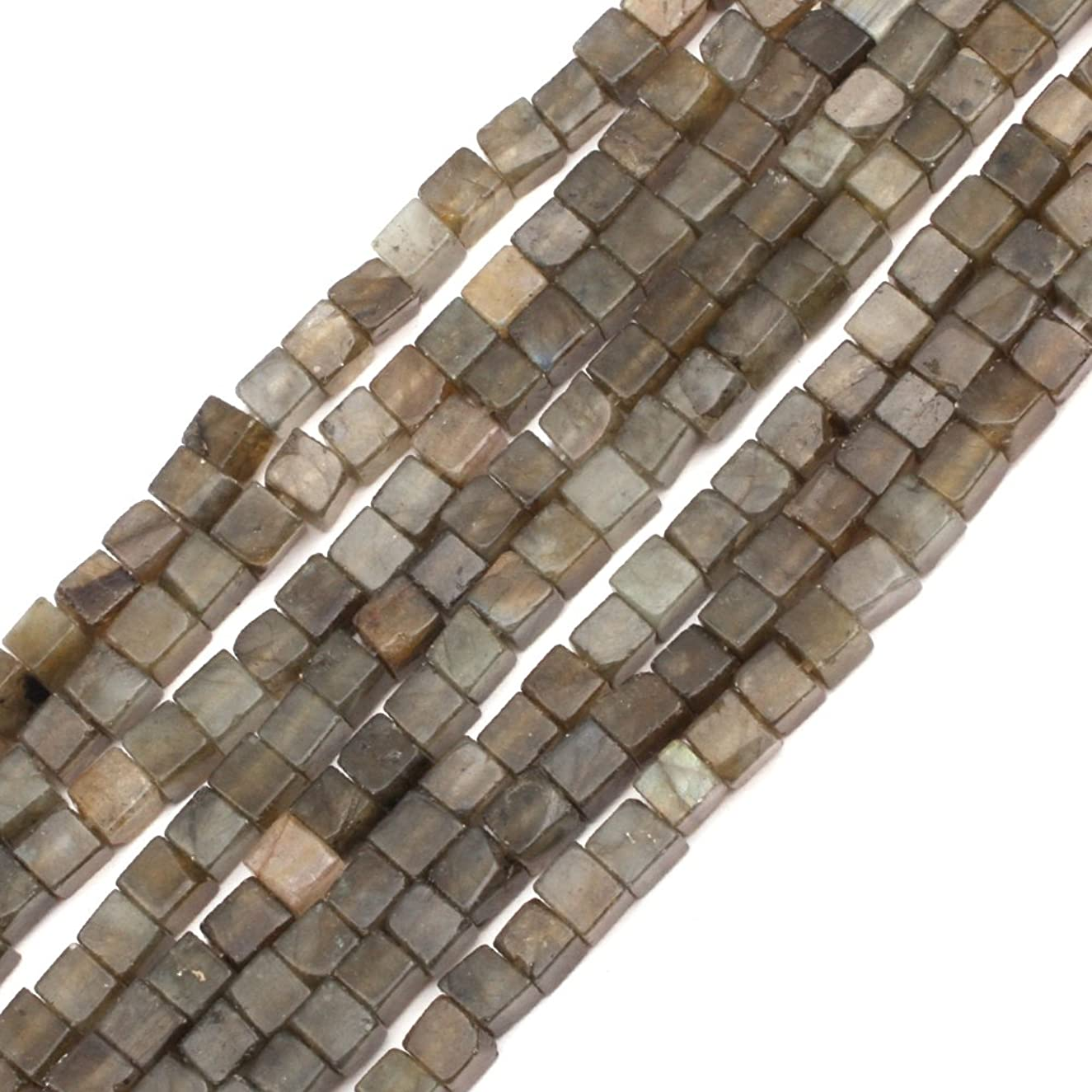 GEM-inside Labradorite Gemstone Loose Beads 4mm Gray Cube Smooth Crystal Energy Stone Power Beads For Jewelry Making 15