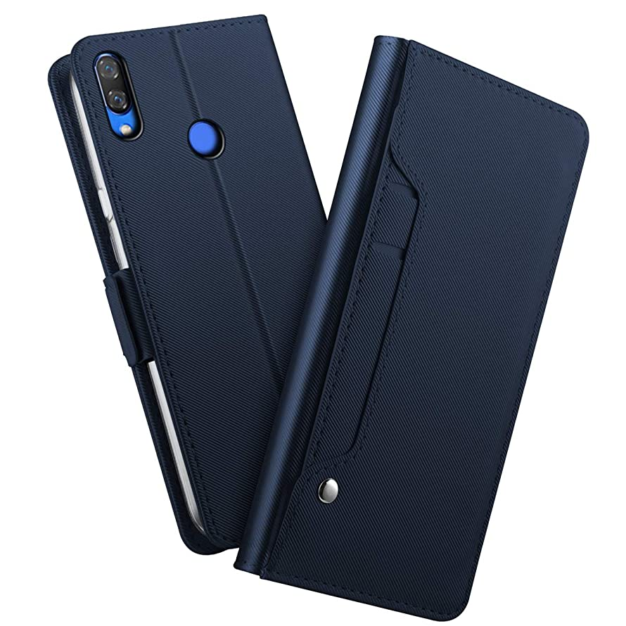 Huawei Y9 2019 Case, Luxury Genuine Leather Case with Viewing Stand, Card Slot, Protective Bumper Wallet Cover for Huawei Y9 2019 (Blue)
