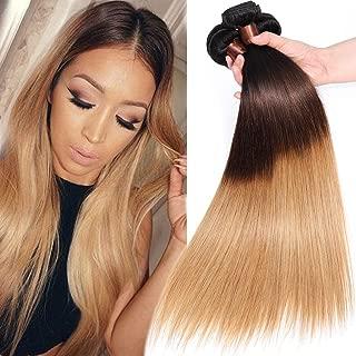 BLACKMOON HAIR(TM) Brazilian Virgin Ombre Hair Silky Straight Hair Weave 3 Bundles Unprocessed Virgin Human Hair Extensions T1B/4/27 Mixed Length (8 8 8)