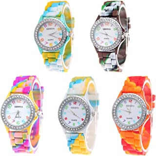 Wholesale Watch 5 Pack Rhinestone Colorful Silicone Jelly Wristwatches for Women Girls Gift Set