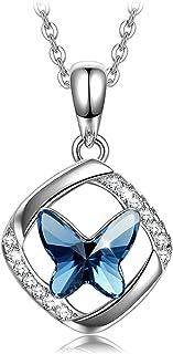 Sellot Collares Mujer Plata Pendientes, Serie Sueño de Mariposa, Regalos Originales para Mujer Niña, Cúbica 5A/Cristales d...