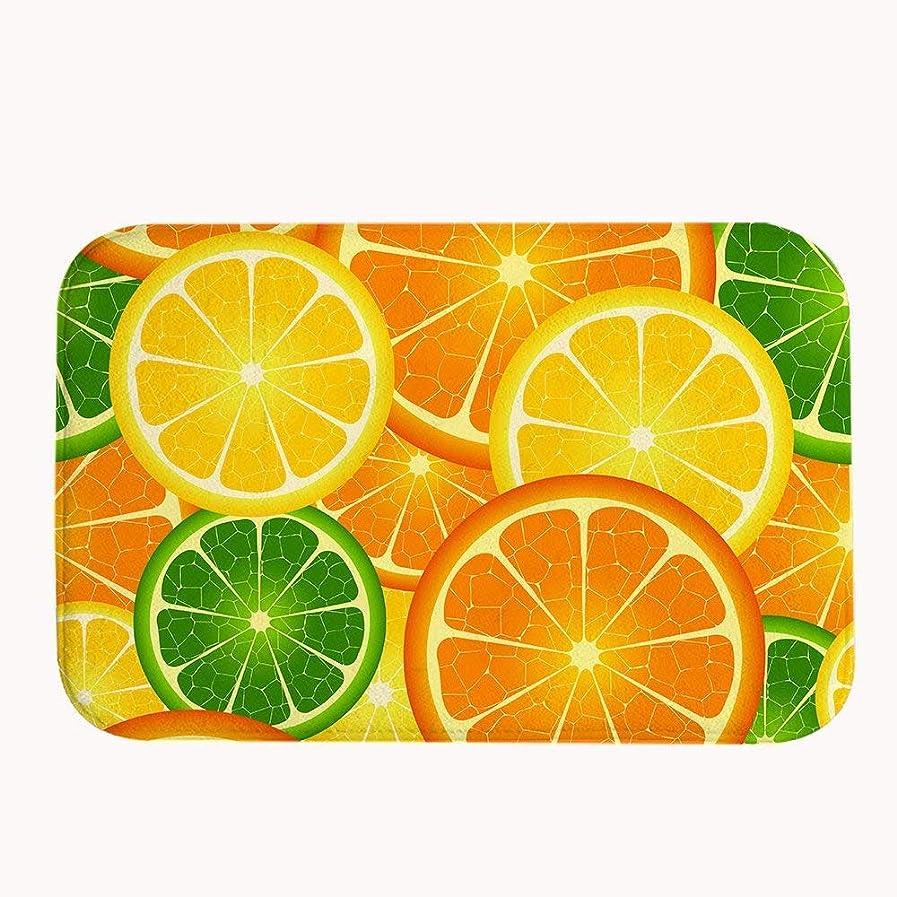 センサー換気する獣新鮮なレモンスライス滑り止めフランネル玄関床敷物屋内マットホーム装飾40×60センチ