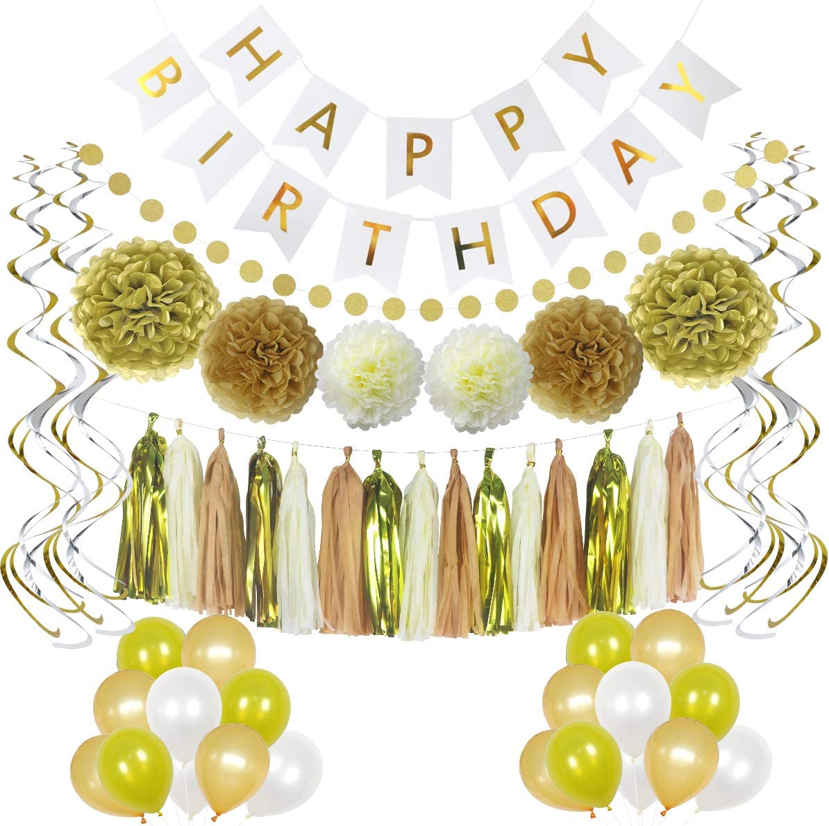 LITAUS Birthday Decorations Chic White Party Gold specialty shop Sale Special Price and Supplies