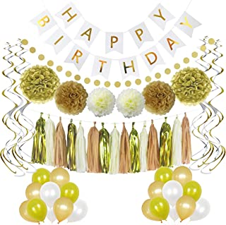 LITAUS Birthday Decorations, Chic White and Gold Party Supplies, Serves 58, Includes Happy Birthday Banner, Party Balloons, Hanging Swirls, Garland, Tassels, Paper Flowers for Parties, Baby Shower