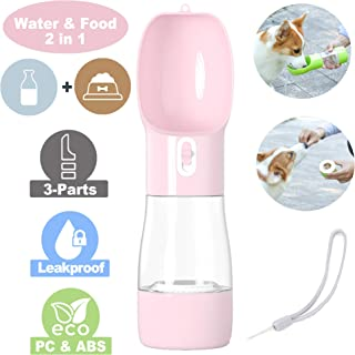 iiDesign 2-in-1 Dog Water Bottle, Protable Dog Cat Water Bottle for Walking Hiking Travel, Pets Outdoor Drinking and Feeding Dispenser