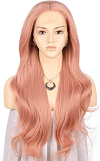 TANYAWIGS Hot Sale Peach Red Pink Long Wavy Wigs Rosie Whiteley Hairstyle Heavy Density Blend Color Glueless Synthetic Lace Front Wigs for Women